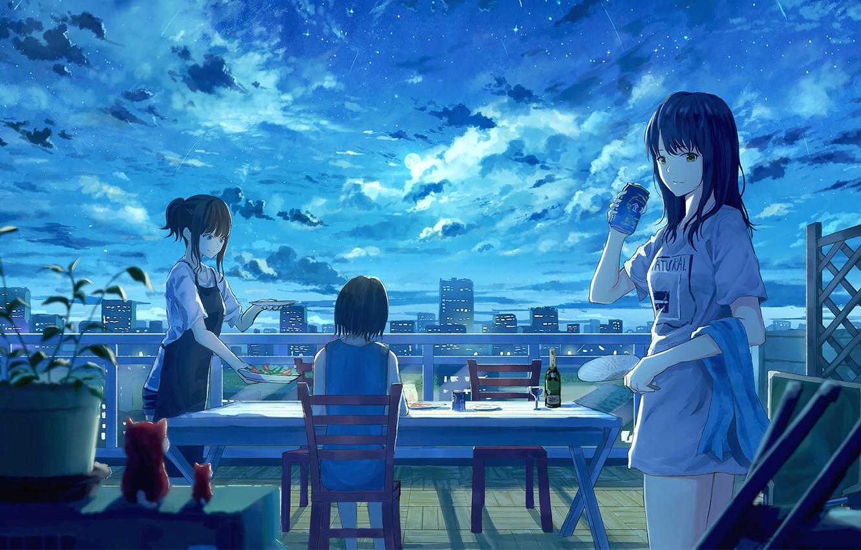 Фото обои девушки, вечер, кафе