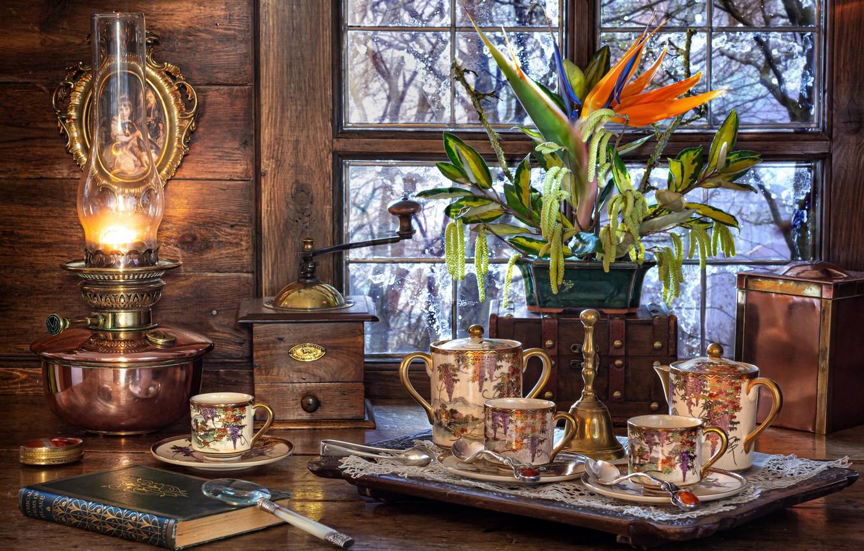 Фото обои цветок, ветки, лампа, окно, мельница, посуда, книга, лупа, салфетка, сервиз