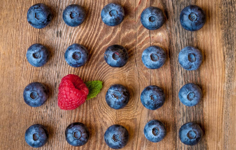 Фото обои ягоды, малина, черника