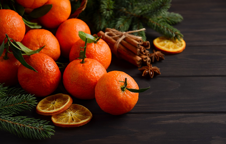 Фото обои украшения, Новый Год, Рождество, Christmas, wood, fruit, New Year, мандарины, decoration, tangerine, Merry, fir tree, ...