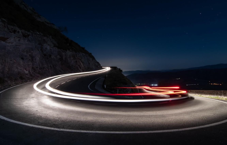 Обои дорога, ночь, огни. Разное foto 16