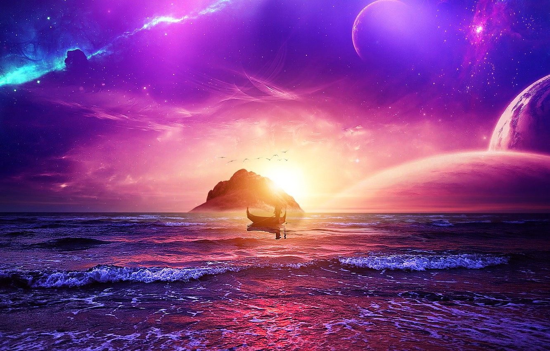 Фото обои space, sky, ocean, landscape, sunset, stars, man, purple, galaxy, boat, manipulation, univerce, digital Art
