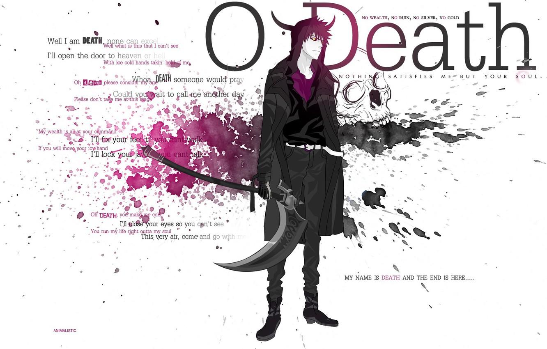 Фото обои оружие, демон, рога, Смерть, коса, Bleach, Ичиго Куросаки