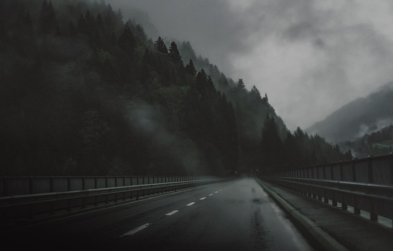 Фото обои Дорога, Мост, Лес, Грусть, Мрак, Дождь, Darkness, Bridge, Rain, Road, Forest, Атмосфера, Atmosphere, Дымка, Depression