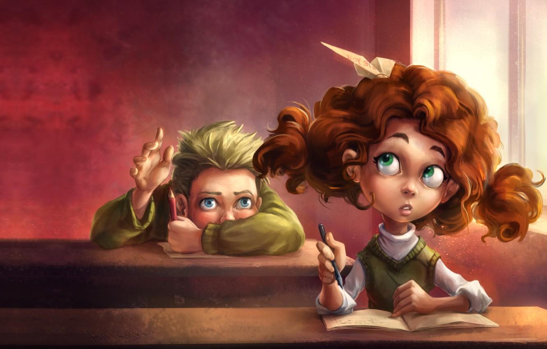Фото обои настроение, чувства, мальчик, арт, девочка, школа, заигрывает, самолетик, ученик, Anna Anikeyka, первая любовь, Paper plane