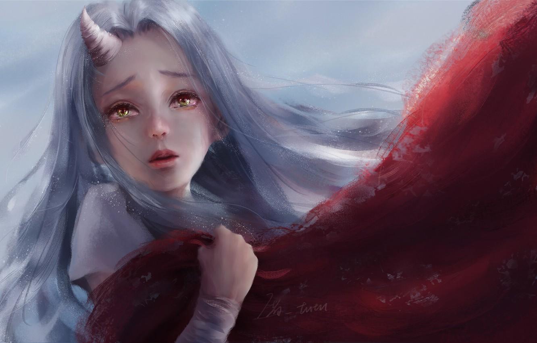 Фото обои единорог, желтые глаза, красный плащ, unicorn, Boku no Hero Academia, длинные белые волосы, Моя Геройская …