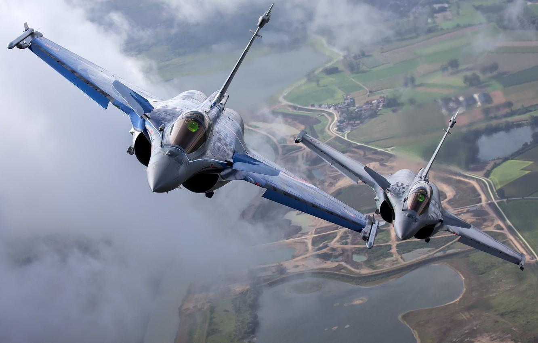 Фото обои пара, полёт, многоцелевой истребитель, Dassault Rafale