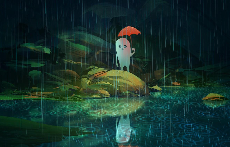 Фото обои нечто, дух, существо, пришелец, ливень, art, отражение в воде, красный зонт, в темноте, Nikko, круги …