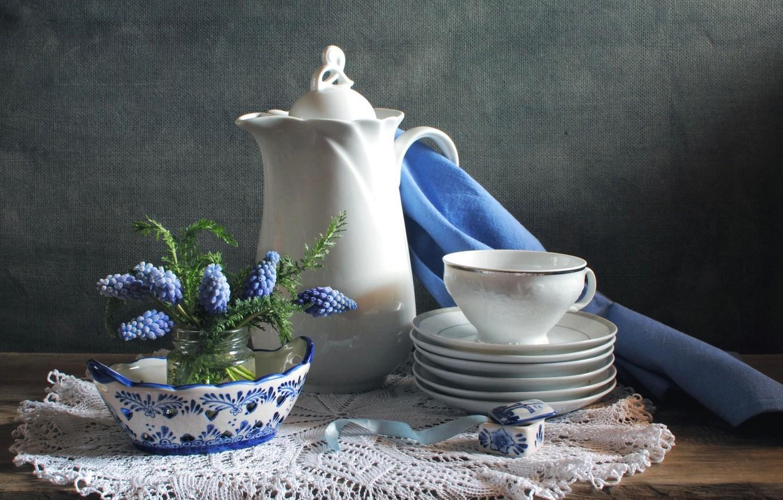 Обои цветы, натюрморт, сервиз, тарелка, стол. Разное foto 7