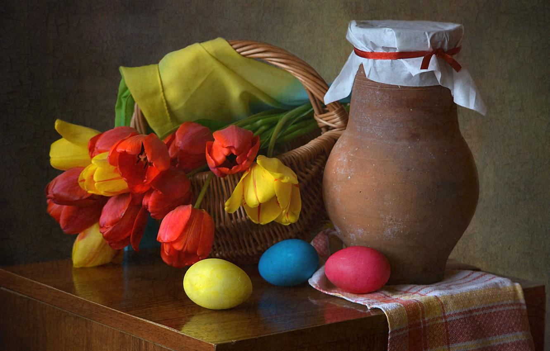 Фото обои цветы, корзина, Пасха, тюльпаны, кувшин, натюрморт, яйца крашенные, драпировка