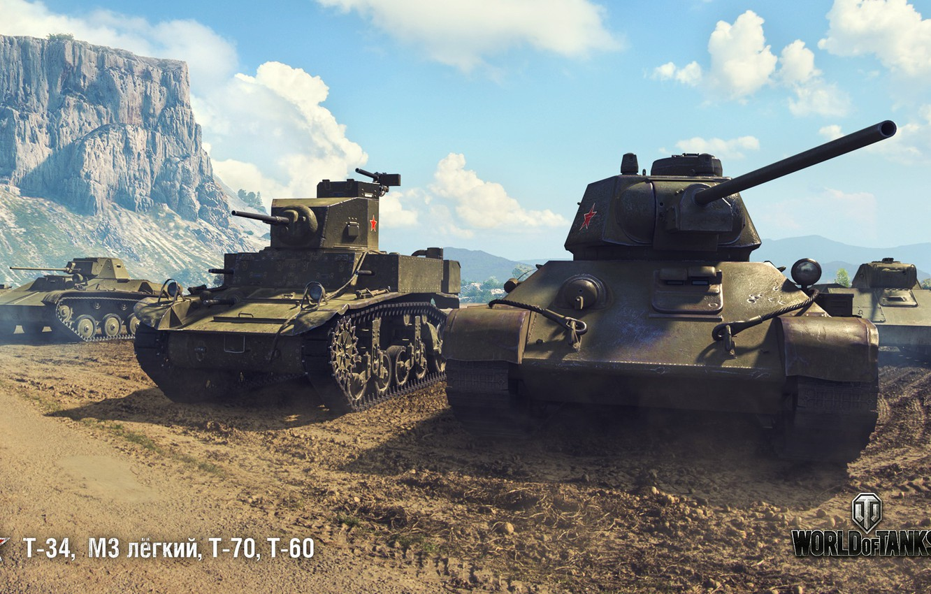 Фото обои Т-34, WoT, World of Tanks, Т-70, Wargaming, Т-60, М3 лёгкий