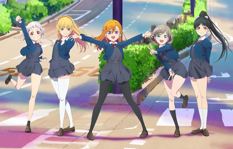 Фото обои city, school uniform, stockings, brunette, blonde, jacket, anime girl, Love Live, school girl, school skirt, …