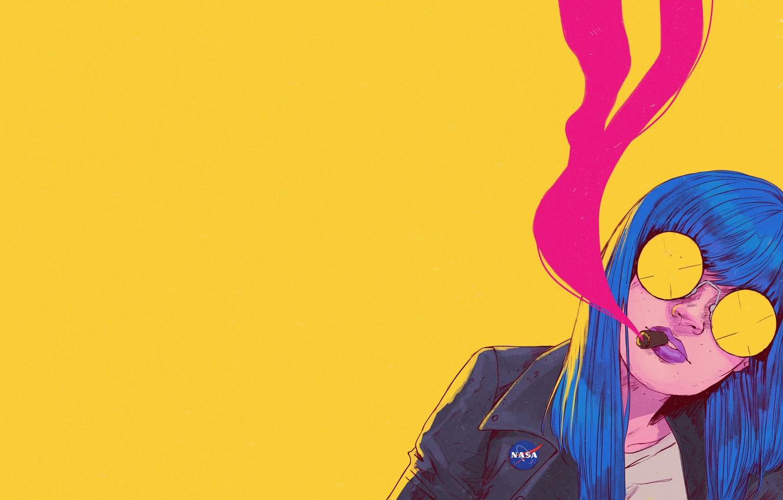 Фото обои Девушка, Минимализм, Очки, Стиль, Лицо, Girl, Арт, Art, Style, Сигара, Face, Glasses, Синие волосы, Bruno …