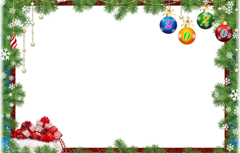 Фото обои шарики, украшения, снежинки, ветки, Новый Год, подарки, хвоя, открытка, шаблон, 2020, заготовка