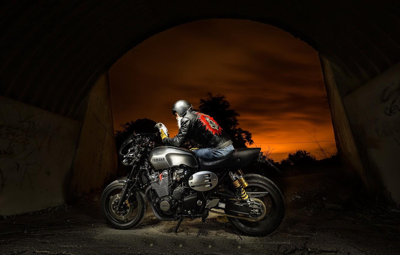 Фото обои птица, мотоцикл, байкер