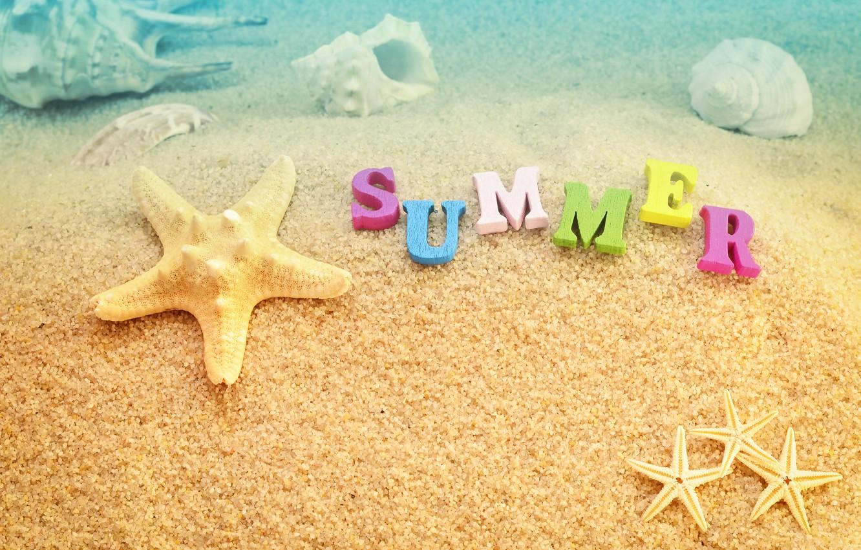 Фото обои песок, море, пляж, лето, отдых, ракушки, summer, beach, каникулы, sea, sand, vacation, starfish, seashels