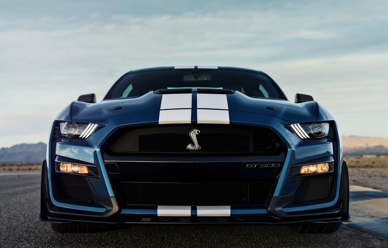 Фото обои синий, Mustang, Ford, Shelby, GT500, вид спереди, 2019