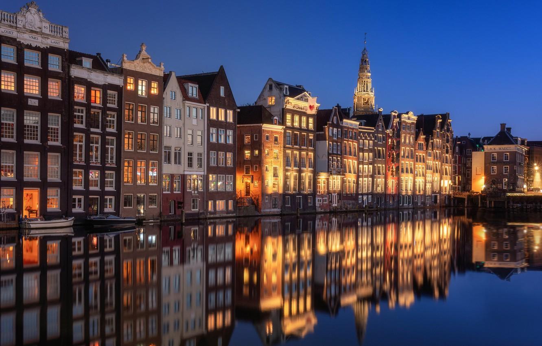 Фото обои вода, отражение, здания, дома, Амстердам, канал, Нидерланды, Amsterdam, Netherlands, Де Валлен, De Wallen