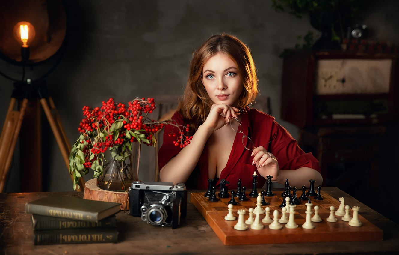 Фото обои взгляд, девушка, свет, фото, модель, книги, шахматы, фотоаппарат, рябина, Бармина Анастасия