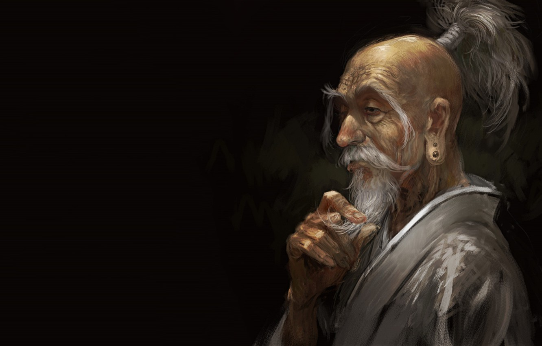 Фото обои anime, man, asian, digital art, artwork, black background, old man, simple background, beard, Hunter x …
