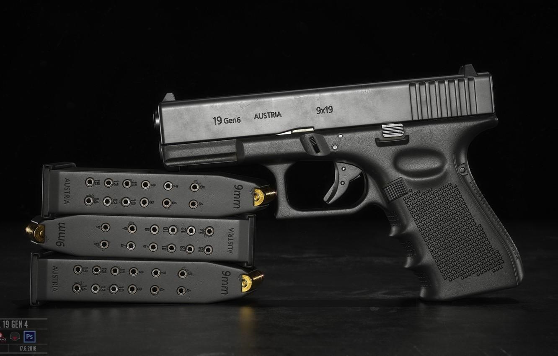 Фото обои пистолет, оружие, pistol, weapon, Глок, Glock, Glock 19 gen 6