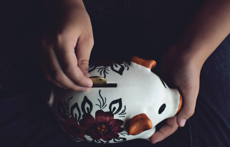 Фото обои деньги, копилка, свинья