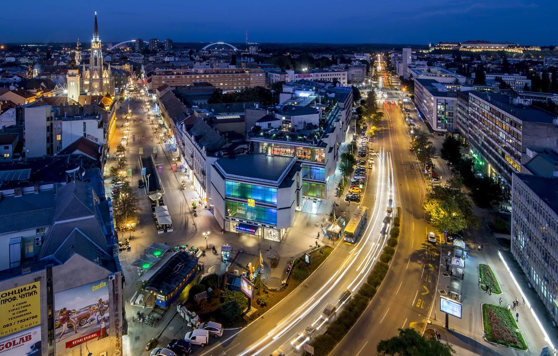 Фото обои Дома, Вечер, Улица, Дороги, Сербия, Novi Sad, Juzhna Bachka