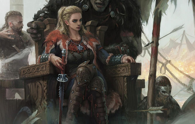 Фото обои girl, sword, fantasy, weapon, Warrior, blue eyes, men, blonde, artwork, shield, fantasy art, arrows, creature, …