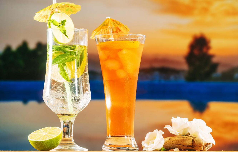 Фото обои пляж, лето, отдых, коктейль, ice, summer, напитки, beach, каникулы, fresh, fruit, drink, mojito, vacation, tropical