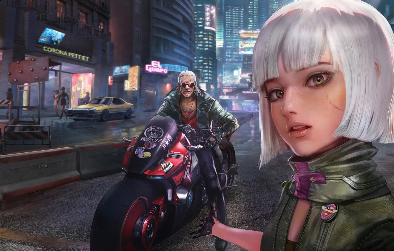 Фото обои Игра, Будущее, Мотоцикл, Fantasy, Арт, Art, Ведьмак, Фантастика, Night city, Геральд, Cyberpunk 2077, Киберпанк, Цири, …