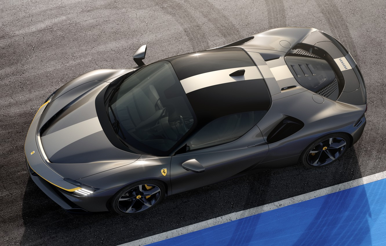 Фото обои Ferrari, спорткар, вид сверху, Stradale, SF90