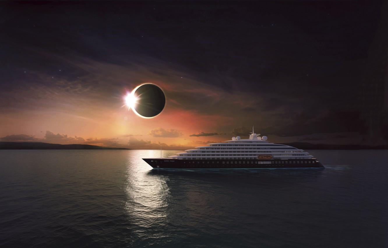 Фото обои Солнце, Океан, Море, Яхта, Судно, Затмение, Eclipse, Рендеринг, Люкс, Scenic Eclipse, Luxury Ocean Cruises