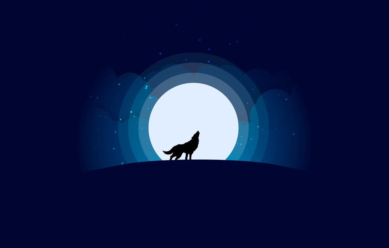 Фото обои moon, minimalism, stars, Wolf, animal, digital art, artwork, silhouette, wild, simple background, howling
