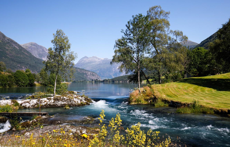 Фото обои деревья, горы, озеро, Норвегия, Norway, Стрюн, Nordfjord, Stryn, Нордфьорд