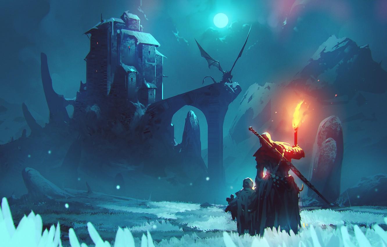 Фото обои fire, moon, sword, fantasy, weapon, night, winter, mountain, snow, man, dragon, Castle, child, digital art, …