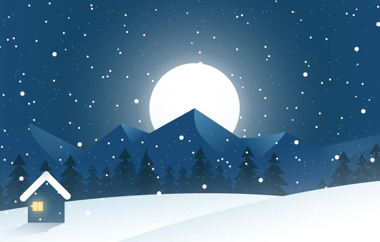 Фото обои зима, снег, горы, ночь, природа, праздник, холмы, луна, склоны, вершины, вектор, ели, Рождество, сугробы, Новый …