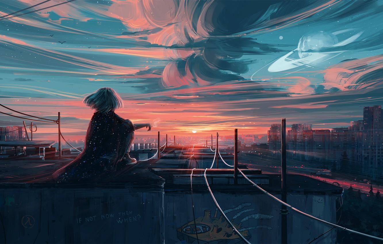 Фото обои небо, девушка, город, волосы, спина, вид, рельсы, арт, Aenami, by Aenami, Alena Aenami