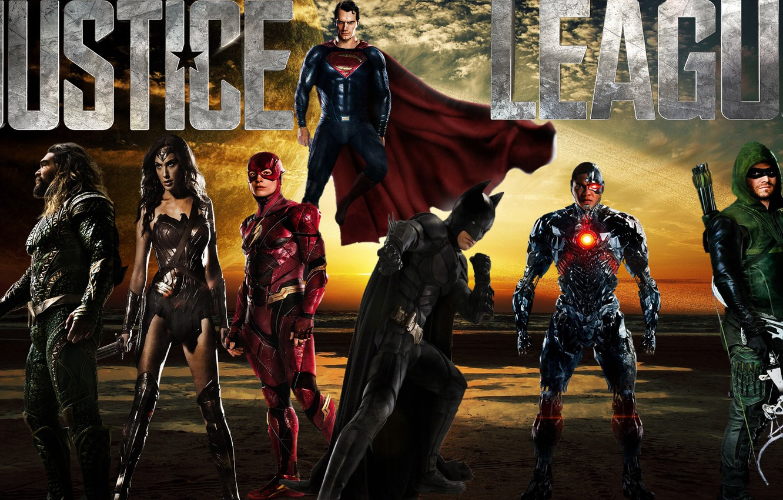 Фото обои Wonder Woman, Batman, Superman, Green Arrow, Arrow, Cyborg, Flash, Aquaman, Justice League, Лига Справедливости