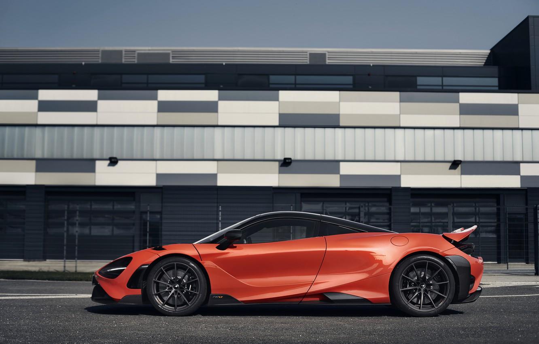 Фото обои оранжевый, McLaren, в профиль, 2020, 765LT