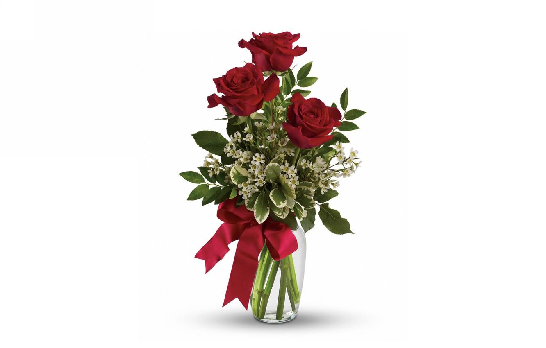 Фото обои розы, букет, ваза, бант