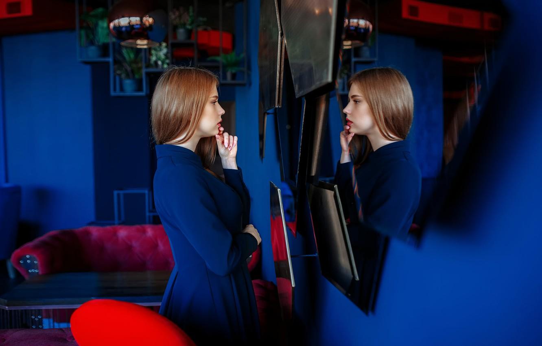 Фото обои отражение, профиль, Катя, Andrey Metelkov