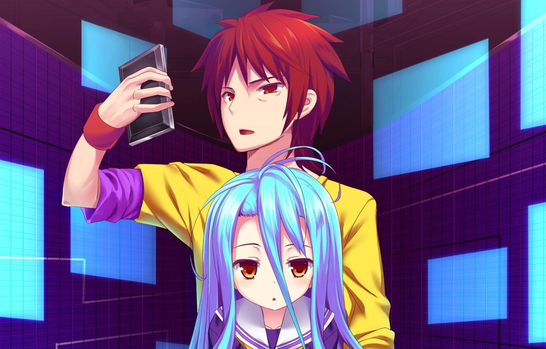 Фото обои аниме, арт, девочка, парень, двое, Смартфон, No Game No Life, Нет игры нет жизни