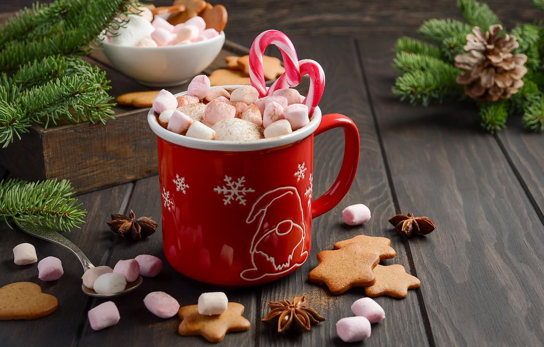 Фото обои украшения, Новый Год, Рождество, кружка, Christmas, cup, New Year, какао, decoration, xmas, Merry, hot chocolate, ...