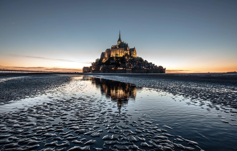 Фото обои замок, Франция, остров, монастырь, Мон-Сен-Мишель