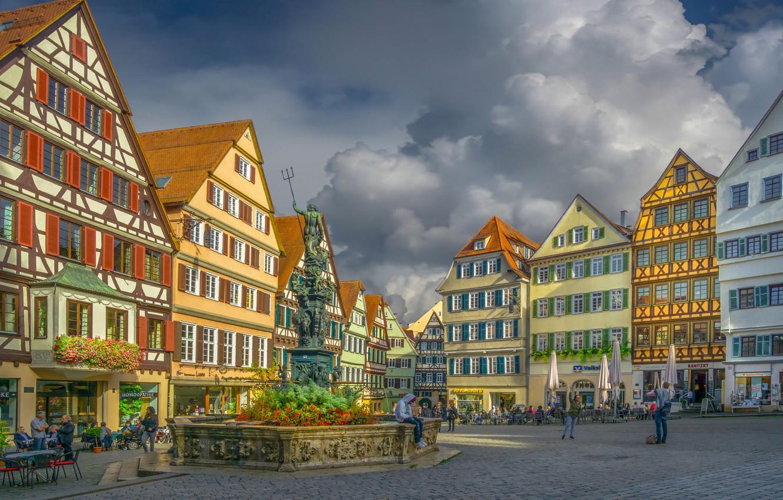 Фото обои здания, дома, Германия, площадь, фонтан, Germany, Баден-Вюртемберг, Baden-Württemberg, Tübingen, Тюбинген