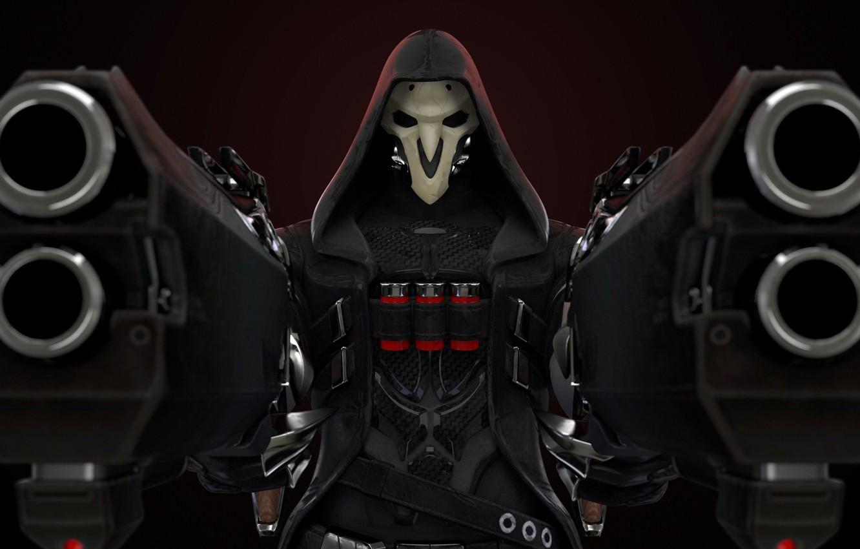 Фото обои оружие, игра, маска, герой, game, Blizzard, weapons, hero, mask, жестокость, Reaper, Overwatch, адские дробовики, cruelty, …