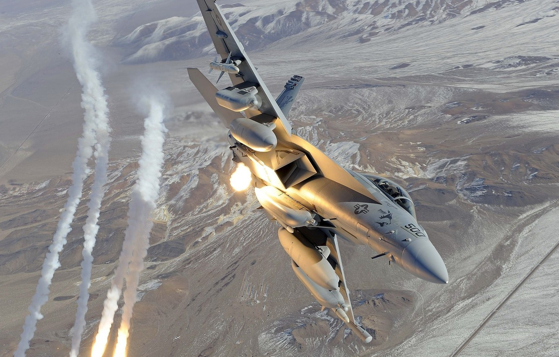 Фото обои Boeing, USA, Air Force, Airplane, Military, Fighter, Boeing EA-18 Growler