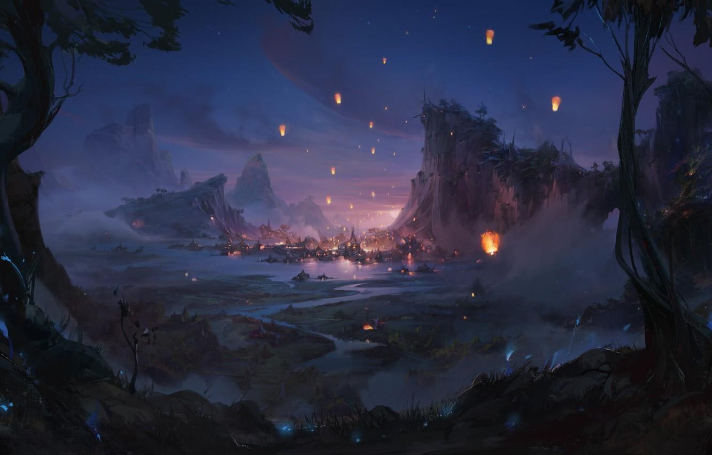 Фото обои горы, огни, река, долина, фонарики, гавань, летняя ночь, Марина Кривенко