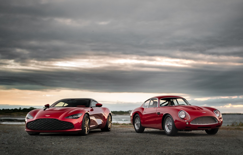 Фото обои Aston Martin, красные, Zagato, рядом, 2020, DB4 GT Zagato Continuation, DBS GT Zagato