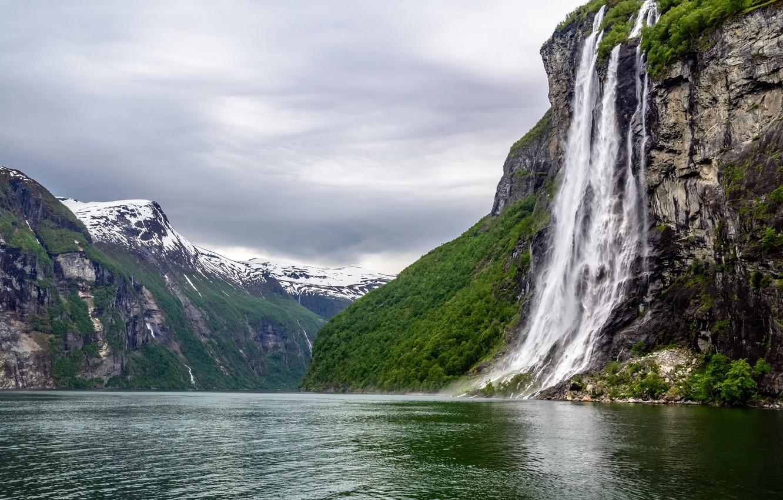 Фото обои Природа, Горы, Водопад, Норвегия, Пейзаж, Гейрангер-фьорд, Geirangerfjord, Фьорд